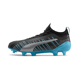 PUMA ONE 5.1 City FG/AG Men's Soccer Cleats, Black-Sky Blue-Silver, small