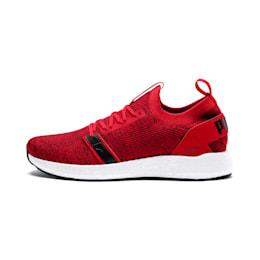 NRGY Neko Engineer Knit Men's Running Shoes, Ribbon Red-White-Black, small