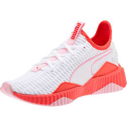 Defy Girls' Training Shoes JR, White-Hibiscus -Pale Pink, small