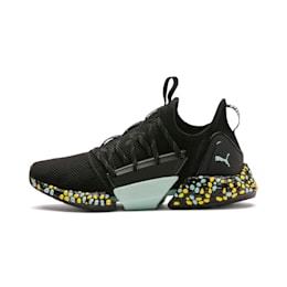 Zapatos para correr HYBRID Rocket Runner para mujer, Black-Fair Aqua-Yellow, pequeño