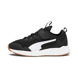 NRGY Neko Skim AC Kids' Trainers, Puma Black-Puma White, small
