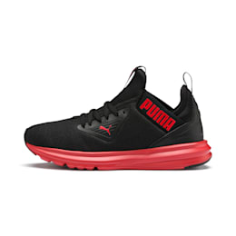 Enzo Beta SoftFoam Youth Trainers, Puma Black-High Risk Red, small-IND