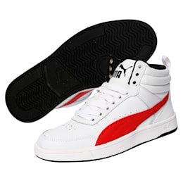 Rebound Street v2 Leather Kids' High Tops, White-Rbbn Red-Black, small-IND
