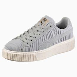 Basket Platform Women's Sneakers, Quarry-Quarry-Whisper White, small