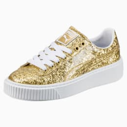 Basket Platform Glitter Women's Sneakers, Gold-Gold, small