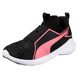 Rebel Mid Gleam Girls' High Tops, Puma Black-Rapture Rose, small-IND