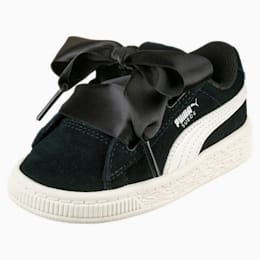 Suede Heart Jewel Little Kids' Shoes, Puma Black-Whisper White, small