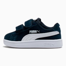 PUMA Smash v2 Suede Toddler Shoes, Peacoat-Puma White, small