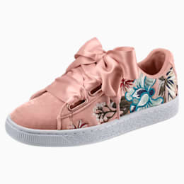 Basket Heart Hyper Embroidery Women's Shoes, Peach Beige, small-IND