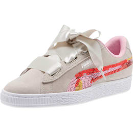 Suede Heart Trailblazer Sequin Sneakers JR, Gray Violet-Pale Pink, small