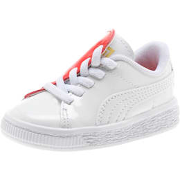 Basket Crush Patent AC Toddler Shoes, Puma White-Hibiscus, small