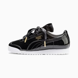Roma Heart Patent Women's Sneakers, Puma Black-Puma Team Gold, small