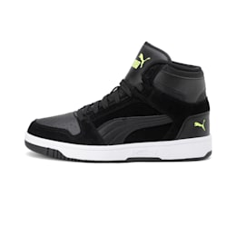 Rebound Layup Suede Shoes, Black-Yellow Alert-White, small-IND