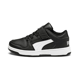 Rebound Lay-Up Lo V Kids' Trainers, Puma Black-White-High Rise, small