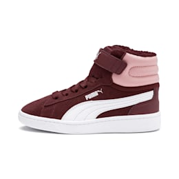 Vikky v2 Mid Fur V Kids' Trainers, Vineyard Wine-B Rose-White, small