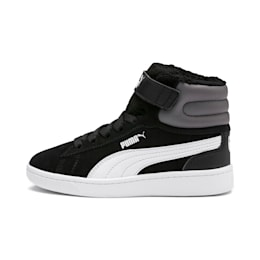 Vikky v2 Mid Fur V Kids' Trainers, Puma Black-CASTLEROCK-White, small