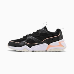 Nova 2 Suede Women's Trainers, Puma Black-Peach Parfait, small
