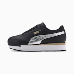 Roma Amor Metal Women's Sneakers, Puma Black-Metallic Silver, small