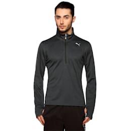 Running Men's Half Zip Long Sleeve, Black Heather-dtm stitching, small-IND
