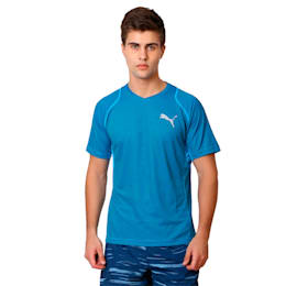 Active Training Vent Stripe T-Shirt, atomic blue-w/ Black, small-IND