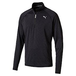 Running Men's Half Zip Long Sleeve, Black Heather-with black zip, small-IND