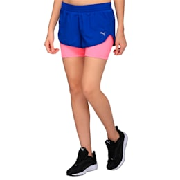 Running Women's Blast 2 in 1 Shorts, TRUE BLUE-KNOCKOUT PINK, small-IND