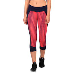 Running Women's Graphic 3/4 Tights, Peacoat-SprkCosmo/PeacoatAOP, small-IND