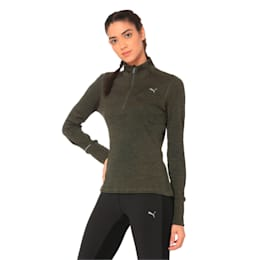Ignite Half Zip Women's Running Pullover, Forest Night Heather, small-IND