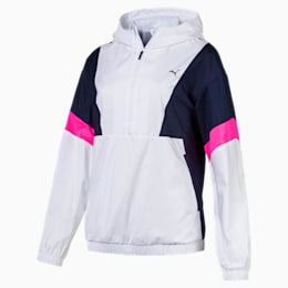 A.C.E Women's Jacket, White-Peacoat-KNOCKOUT PINK, small