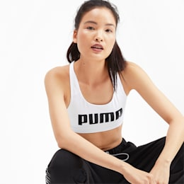 4Keeps Mid Impact Women's Bra Top, Puma White-Puma Black, small