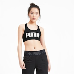 4Keeps Mid Impact Women's Bra Top, Puma Black-Puma White, small