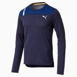 Warming Long Sleeve Men's Training Top, PeacoatHtherSodaliteBlHther, small-IND