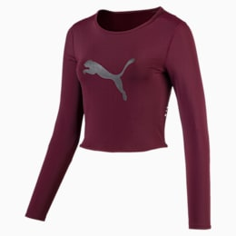 Luxe Long Sleeve Women's Crop Top, Fig, small
