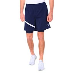 Ignite Woven 2 in 1 Men's Running Shorts, Peacoat-Puma White, small-IND