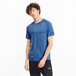 Energy Seamless Men's Training Tee, Galaxy Blue Heather, small-IND