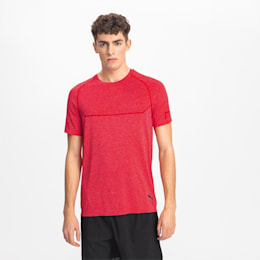 Energy Seamless Men's Training Tee, High Risk Red Heather, small
