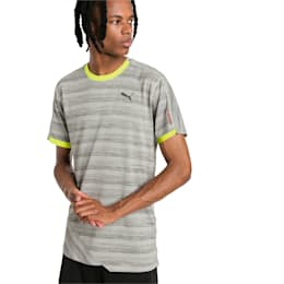 PACE Breeze Short Sleeve Men's Running Tee, Lt Gry Hthr-Fizzy Yellow, small-IND