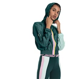 Cosmic Knitted Trailblazer Women's Training Jacket, Ponderosa Pine-Fair Aqua, small-SEA