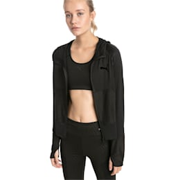 Knockout Knitted Women's Sweat Jacket, Puma Black Heather, small-IND