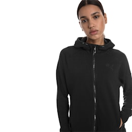 Yogini Knitted Full Zip Women's Track Jacket, Cotton Black, small