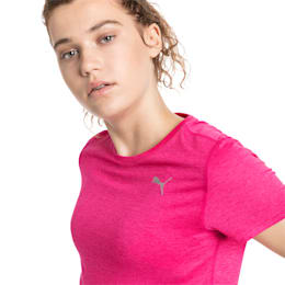 Epic Heather Short Sleeve Women's Running Tee, Fuchsia Purple Heather, small-SEA
