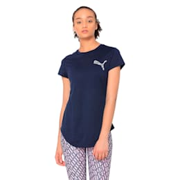 Heather Small Cat Women's Training Tee, Peacoat Heather, small-IND