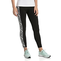 Feel It Women's Training Leggings, Puma Black-with White tape, small-SEA