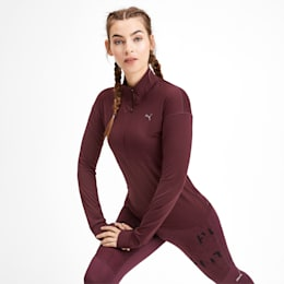 Ignite Long Sleeve Women's Running Pullover, Vineyard Wine, small-IND