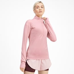 Ignite Long Sleeve Women's Running Pullover, Bridal Rose, small