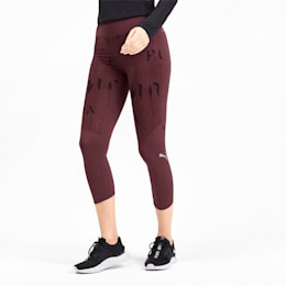 Graphic 3/4 Women's Running Tights, Vineyard Wine-Reflective, small-IND
