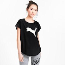 Camiseta Studio Cat de malla para mujer, Puma Black-Yellow Alert, pequeño