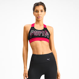 Feel It Women's Training Bra, Puma Black-Nrgy Rose, small