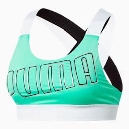 Feel It Women's Mid Impact Bra, Green Glimmer-Puma White, small