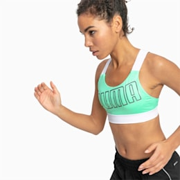 Feel It Women's Training Bra, Green Glimmer-Puma White, small